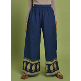 Craftsvilla Blue Cotton Solid Ankle Length Palazzo