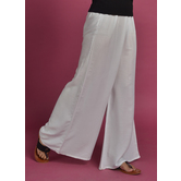 Craftsvilla White Rayon Solid Ankle Length Palazzo