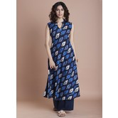 Blue Cotton Printed Calf Length Flared Kurti