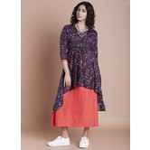 Blue Cotton Printed Calf Length Layered Kurti Dress