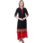 Anuswara Black Color Cotton Plain Calf Length Straight Kurti