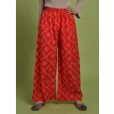 Craftsvilla Red Cotton Printed Ankle Length Palazzo