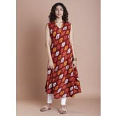 Brown Cotton Printed Calf Length Flared Kurti