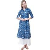 Anuswara Blue  Color Cotton Printed Calf Length A Line Style Kurti