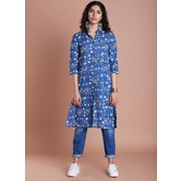 Blue Cotton Printed Collared Neck Withÿ Calf Length Shirt Style Kurti Dress