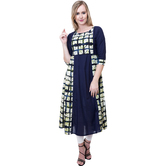 Anuswara Blue Color Cotton Printed Calf Length Flared Kurti