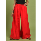 Craftsvilla Red Rayon Solid Ankle Length Palazzo