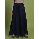Craftsvilla Blue Rayon Solid Ankle Length Palazzo