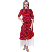 Anuswara Pink Color Rayon Printed Calf Length Straight Kurti