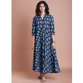 Blue Cotton Printed With Empire Waist Calf Length Flared Kurti