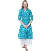 Anuswara Green Color Cotton Printed Calf Length A Line Style Kurti