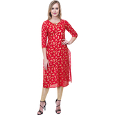 Anuswara Red Color Cotton Printed Calf Length Straight Kurti