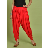 Craftsvilla Red Rayon Solid Ankle Length Dhoti Pant