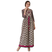 Sutva Cotton Printed & Embroidred Long Maxi Gown