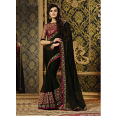 Craftsvilla Black Color Georgette Resham Embroidery Designer Saree