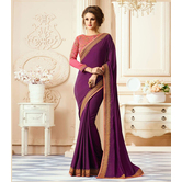 Craftsvilla Purple Color Georgette Resham Embroidery Designer Saree
