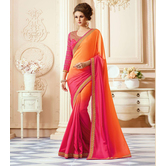Craftsvilla Orange And Pink Color Georgette Resham Embroidery Designer Saree