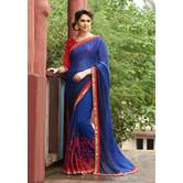 Craftsvilla Blue Color Georgette Mirror Work Designer Saree