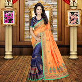 Craftsvilla Orange Color Silk Solid Designer Saree