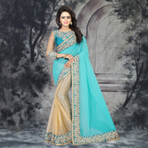 Craftsvilla Turquoise Color Georgette Resham Embroidery Designer Saree