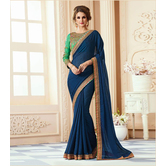 Craftsvilla Blue Color Georgette Resham Embroidery Designer Saree