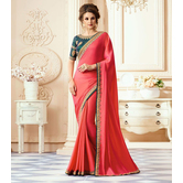 Craftsvilla Pink Color Georgette Resham Embroidery Designer Saree