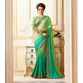 Craftsvilla Green Color Georgette Resham Embroidery Designer Saree
