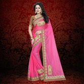 Craftsvilla Pink Color Lycra Patch Work Designer Saree