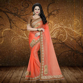Craftsvilla Orange Color Lycra Patch Work Designer Saree