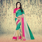 Craftsvilla Turquoise Color Silk Solid Designer Saree