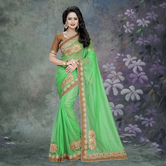 Craftsvilla Green Color Lycra Patch Work Designer Saree