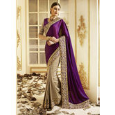 Craftsvilla Purple Color Silk Jacquard Designer Saree