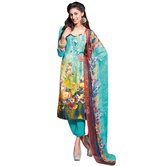 Craftsvilla Sky Blue Color Georgette Printed Unstitched Straight Suit