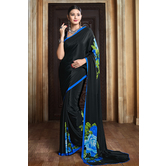 Craftsvilla Black Color Traditional Crepe Saree