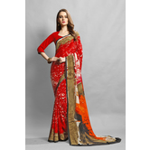 Craftsvilla Red Color Crepe Printed Casual Saree
