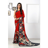 Craftsvilla Red Color Crepe Printed Bollywood Saree With Unstitched Blouse Material