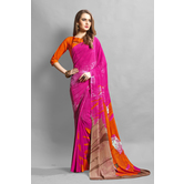 Craftsvilla Pink Color Crepe Printed Casual Saree