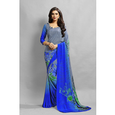 Craftsvilla Blue Color Crepe Printed Casual Saree