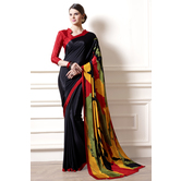 Craftsvilla Black Color Crepe Printed Casual Saree