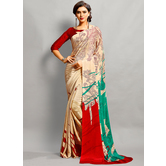 Craftsvilla Beige Color Crepe Plain Bollywood Saree With Unstitched Blouse Material