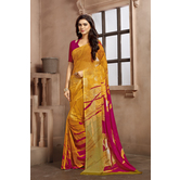 Craftsvilla Yellow Color Georgette Printed Casual Saree