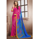 Craftsvilla Pink Color Georgette Printed Casual Saree