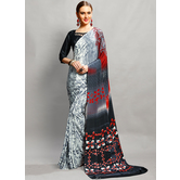 Craftsvilla Grey Color Crepe Plain Bollywood Saree With Unstitched Blouse Material