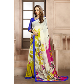 Craftsvilla Off White Color Georgette Printed Casual Saree