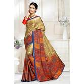 Craftsvilla Brown Abstract Digital Printed Satin Designer Saree