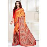 Craftsvilla Orange And Red Abstract Digital Printed Satin Designer Saree