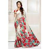 Craftsvilla Grey And Red Abstract Digital Printed Satin Designer Saree