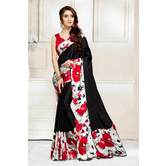 Craftsvilla Black And Red Abstract Digital Printed Satin Designer Saree