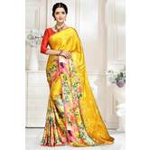 Craftsvilla Yellow And Red Abstract Digital Printed Satin Designer Saree