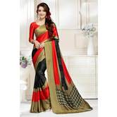 Craftsvilla Multi-color Abstract Digital Printed Satin Designer Saree